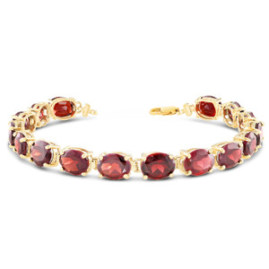 Oval Genuine Garnet (9 x 7) Tennis Bracelet in Yellow Gold