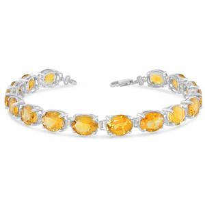 Oval Genuine Citrine (9 x 7) Tennis Bracelet in White Gold