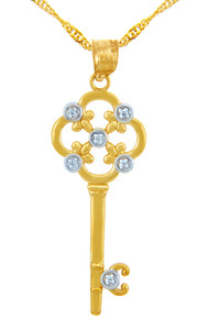 Valentines Special Heart Diamonds - Solid Gold Key Pendant with Diamonds and Fleur-de-Lis (w Chain)