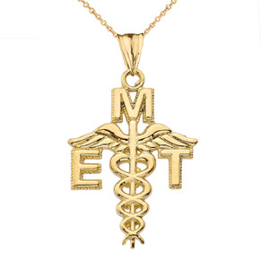 Caduceus EMT Pendant Necklace in Yellow Gold