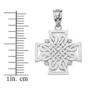 Sterling Silver CZ Celtic Woven Cross Pendant Necklace