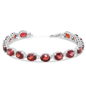 Oval Genuine Checkerboard Garnet (8 x 6) Tennis Bracelet in Sterling Silver