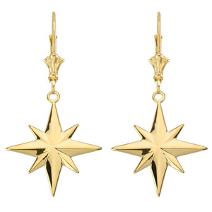 North Star Pendant Necklace Set in Yellow Gold