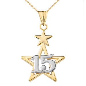 Dainty Quinceañera Star Pendant Necklace in Two Tone Yellow & White Gold