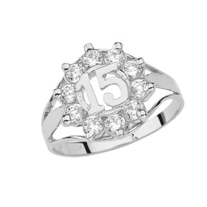 Quinceañera Cubic Zirconia Ring in White Gold