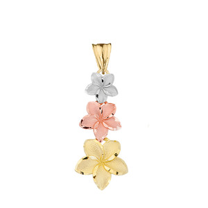 Elegant Plumeria Flower Pendant Necklace in Tri Color Gold