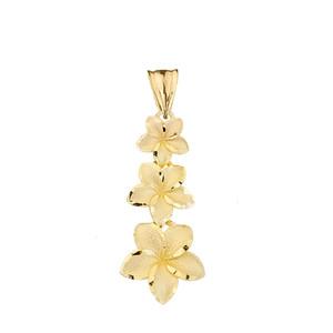 Elegant Plumeria Flower Pendant Necklace in Yellow Gold