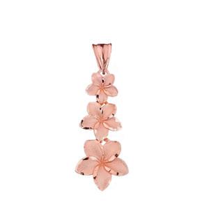 Elegant Plumeria Flower Pendant Necklace in Rose Gold