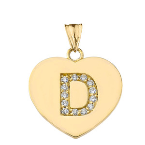 "Diamond Initial ""D"" Heart Pendant Necklace in Yellow Gold"