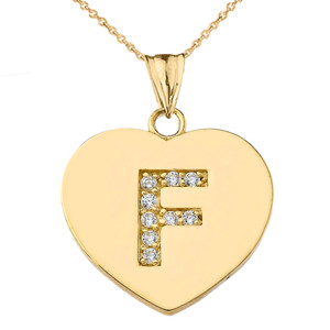 """Diamond Initial """"F"""" Heart Pendant Necklace in Yellow Gold"""