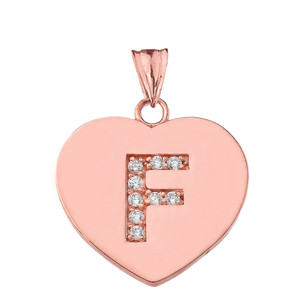 "Diamond Initial ""F"" Heart Pendant Necklace in Rose Gold"