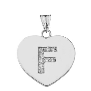 """Diamond Initial """"F"""" Heart Pendant Necklace in White Gold"""