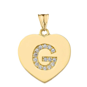 """Diamond Initial """"G"""" Heart Pendant Necklace in Yellow Gold"""