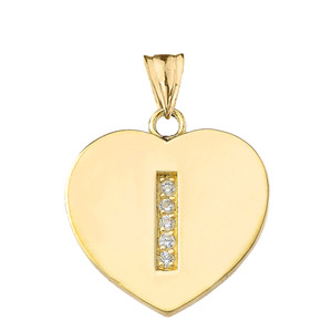 "Diamond Initial ""I"" Heart Pendant Necklace in Yellow Gold"