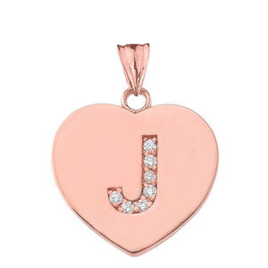 "Diamond Initial ""J"" Heart Pendant Necklace in Rose Gold"