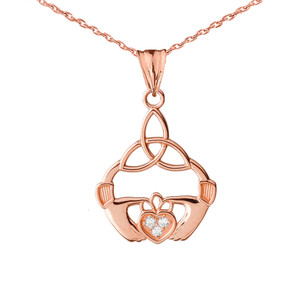14K Diamond Claddagh Trinity Knot Pendant Necklace Set in Rose Gold