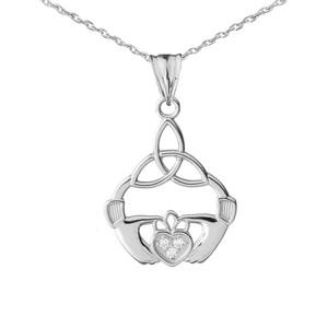 14K Diamond Claddagh Trinity Knot Pendant Necklace Set in White Gold