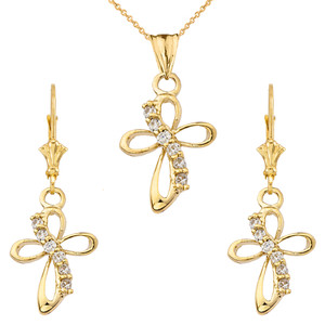 Dainty Modern Cross Cubic Zirconia Pendant Necklace Set in Yellow Gold