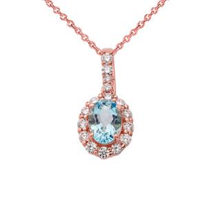 Cubic Zirconia & Genuine Aquamarine Pendant Necklace in Rose Gold