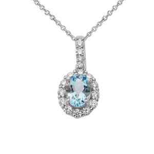 Cubic Zirconia & Genuine Aquamarine Pendant Necklace in White Gold