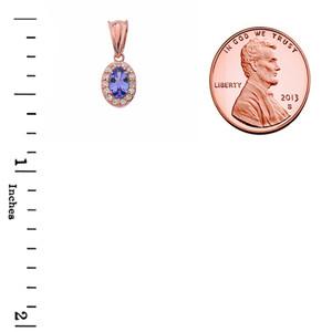 Diamond & Genuine Tanzanite Pendant Necklace in Rose Gold