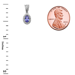 Diamond & Genuine Tanzanite Pendant Necklace in White Gold