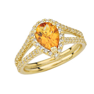 Double Raw Diamond Halo Pear Shape Genuine Checkerboard Citrine Ring in Yellow Gold