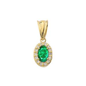 Diamond & Genuine Emerald Pendant Necklace in Yellow Gold