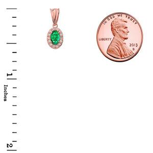 Diamond & Genuine Emerald Pendant Necklace in Rose Gold
