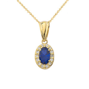 Diamond & Genuine Sapphire Pendant Necklace in Yellow Gold