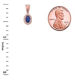 Diamond & Genuine Sapphire Pendant Necklace in Rose Gold