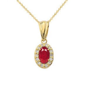 Diamond & Genuine Ruby Pendant Necklace in Yellow Gold