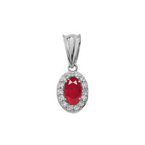 Diamond & Genuine Ruby Pendant Necklace in White Gold