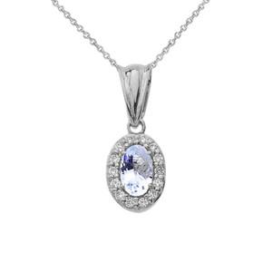 Diamond &  Genuine Aquamarine Pendant Necklace in White Gold