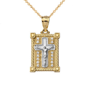 Diamond Boxed Cross Pendant Necklace in Two-Tone Yellow Gold
