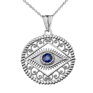 Round Filigree Evil Eye Pendant Necklace in Sterling Silver