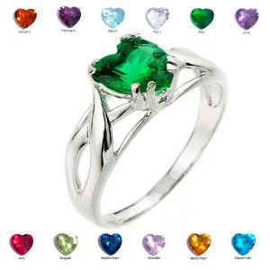 White Gold Birthstone Heart Cubic Zirconia Infinity Band Ladies Ring