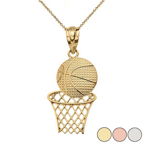 Textured Basketball Hoop Pendant Necklace in Gold (Yellow/Rose/White)