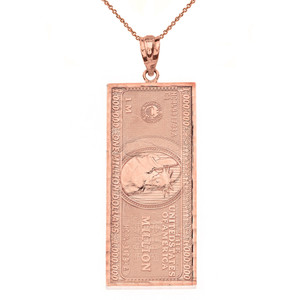 Double Sided Million Dollar Bill Money Pendant Necklace(Large) in Gold (Yellow/Rose/White)