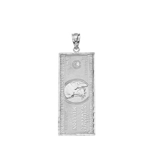 Double Sided Million Dollar Bill Money Pendant Necklace (Small) in Gold (Yellow/Rose/White)