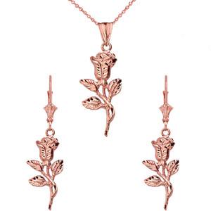14K Sparkle Cut Rose Pendant Necklace Set in Rose Gold