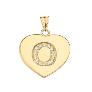 """Diamond Initial """"O"""" Heart Pendant Necklace in Yellow Gold"""