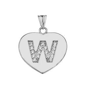 """CZ Initial """"W"""" Heart Pendant Necklace in Sterling Silver"""