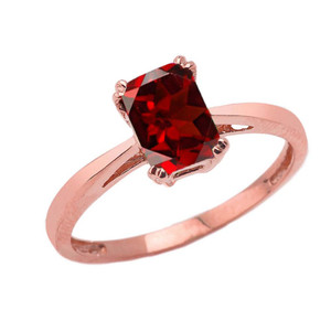 1 CT Emerald Cut Garnet CZ Solitaire Ring in Rose Gold