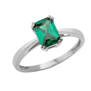 1 CT Emerald Cut Emerald CZ Solitaire Ring in White Gold