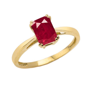 1 CT Emerald Cut Ruby CZ Solitaire Ring in Yellow Gold