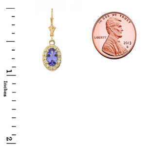 Diamond and Tanzanite Oval Leverback Earrings in Yellow Gold