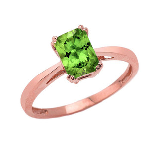 1 CT Emerald Cut Peridot CZ Solitaire Ring in Rose Gold