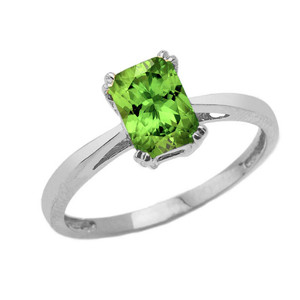 1 CT Emerald Cut Peridot CZ Solitaire Ring in White Gold