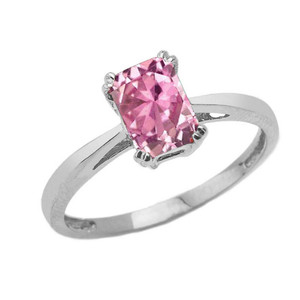 1 CT Emerald Cut Pink CZ Solitaire Ring in White Gold